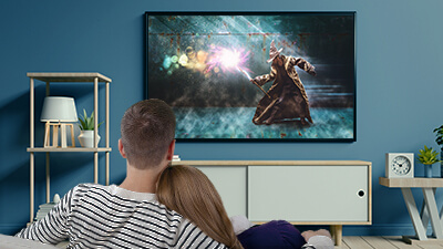 Wirelessly cast media content on 4k UHD HDR TVs and multi-channel sound systems for the best audio-visual experience with your family or significant other.